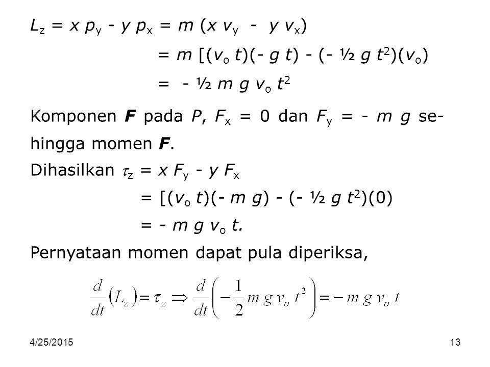 Lz = x py - y px = m (x vy - y vx) = m [(vo t)(- g t) - (- ½ g t2)(vo)